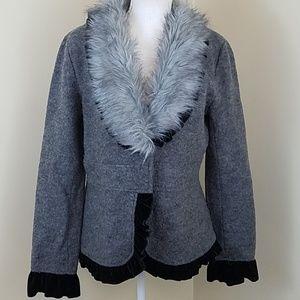 NWT Roz & Ali Large Grey wool coat w/faux fur neck
